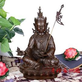 咖啡色高22厘珍齋 開光純銅藏傳密宗蓮花生大士佛像擺件家居裝飾工藝品擺設