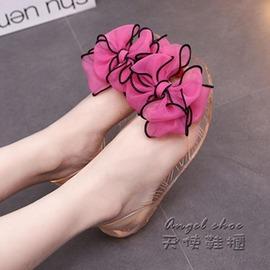 夏韓國甜美蕾絲大花朵蝴蝶結平底涼鞋女果凍鞋透明女鞋潮