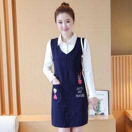 ~ORead~~g3c312d2289 ~襯衫背心裙兩件套連身裙^(寶藍色S^~XL^)