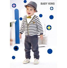 baby king  6269 假兩件式條紋POLO衫 80CM^~130CM 製