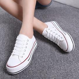 厚底帆布鞋女學生低筒透氣板鞋鬆糕休閒鞋平底小白鞋布鞋~型男原創館~