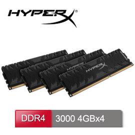 HyperX Predator DDR4~3000 16GB^(4GBx4^)桌上型超頻記