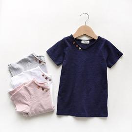 櫻桃 角落韓國兒童水洗純棉短袖T恤竹節棉V領男童女童純色體恤2~7歲寶寶夏