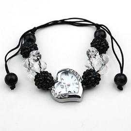 女士手錶心形手鍊錶水晶編織女錶 風格學生腕錶63684衣櫥 祕密