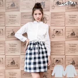 襯衫~~氣質滿點立領直紋緹花 貼口袋顯瘦白色長袖襯衫^(白XL~3L^)~I175眼圈熊中