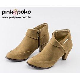 踝靴 ~PINK POKO~  反摺側拉鏈圓尖頭粗高跟鞋/短靴/高跟踝靴/騎士靴~2色 #