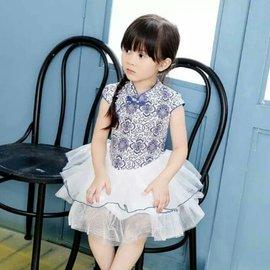 8碼  I BABY  女童 兒童 中國風 旗袍 蓬蓬連衣裙 古裝 青花瓷樣 小禮服 表演