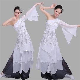 5Cgo~ 七天交貨~536251838894 拉丁舞裙流蘇連衣裙演出服成人女性感斜肩拉丁