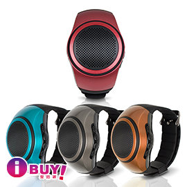 ~愛敗網~ /aibo B20 手錶型隨身藍牙喇叭^(可插卡^)~藍色 古銅金 鐵灰 紅褐