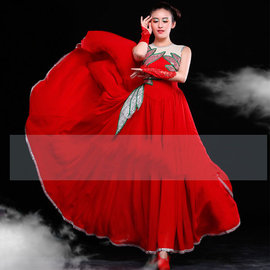 5Cgo~ 七天交貨~20935431576 鬥牛舞蹈服西班牙紅色開場舞演出服裝大擺舞裙華