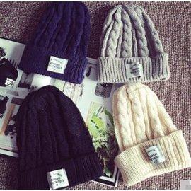 ~ B.O.S貼標字母 潮毛線帽 冬天女式男款針織帽子