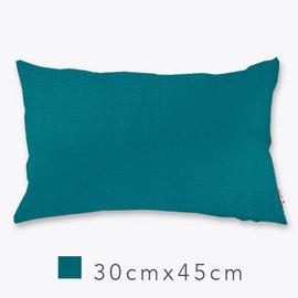 Basa原色抱枕^(含枕心^)~海藍 30cm×45cm 仿麻布面 配色隱形拉鍊 素色單色