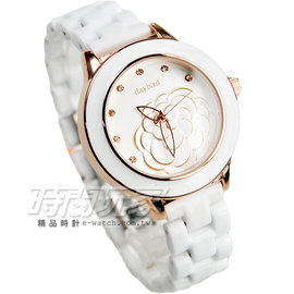 daybird 立體 山茶花 錶盤 晶鑽時刻腕錶 玫瑰金電鍍x白陶瓷 D3843玫白