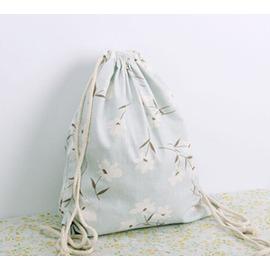 後背包束口袋棉麻帆布包雙肩包拉繩束口袋女包學生背包休閒小布袋抽繩袋~Dudubobo~