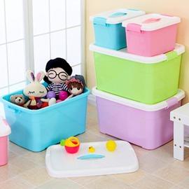 花收納箱塑膠收納盒儲物箱整理箱大號衣物玩具帶提手~Dudubobo~