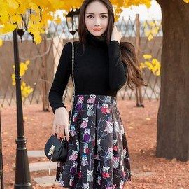 美之札^~98535~QF^~高領保暖長袖毛織拼接貓頭鷹印花裙襬洋裝