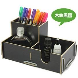 桌面DIY木質收納架筆筒雜物文具收納盒辦公桌整理盒儲物盒