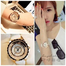 韓國手錶女學生 潮流 水鉆防水石英錶真皮帶時裝錶女錶