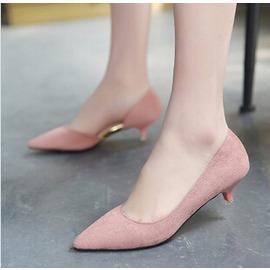 即止低跟鞋 尖頭側空細跟低跟女鞋高跟鞋39 粉紅色~3C 科技館~8~24