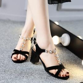 水鑽粗跟高跟鞋T型一字帶磨砂牛皮黑色涼鞋女露趾7公分