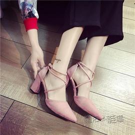 粗跟涼鞋女夏尖頭高跟鞋交叉綁帶簡約性感淺口女鞋潮~韓風館~