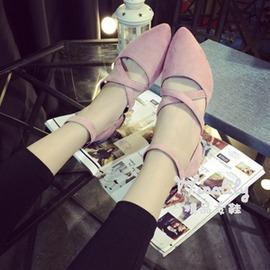 2016 款絨面尖頭女磨砂單鞋女鞋粗跟中跟淺口一字扣工作鞋潮~浪漫衣櫥~