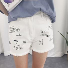 短褲 女裝 寬鬆高腰毛邊牛仔短褲卡通印花牛仔褲闊腿熱褲子~3C 館~