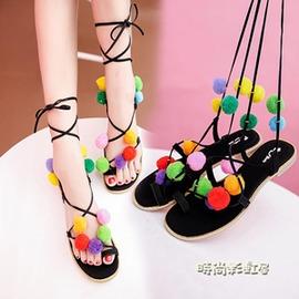 波西米亞民族風 交叉綁帶毛球涼鞋女繡球流蘇平跟夾趾涼鞋