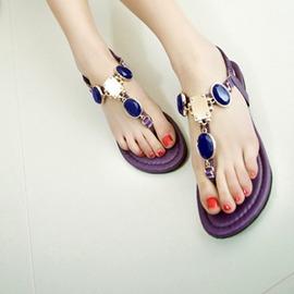 平底夾腳沙灘鞋藍寶石平跟夾趾羅馬涼鞋波西米亞水鉆女鞋