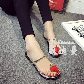 平底水鑽涼拖夾趾簡約拖鞋夾腳平跟涼鞋女草莓拖~韓風館~