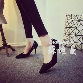 性感尖頭黑色純色磨砂淺口橡膠細跟紅色鉚釘高跟鞋~韓風館~