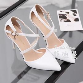 高跟鞋細跟尖頭交叉綁帶涼鞋女夏包頭鞋性感百搭顯白女鞋9cm~韓風館~