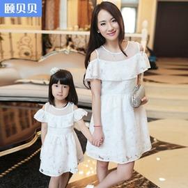 頤貝貝母女裝款白色露肩荷葉短袖連身裙 母女裝兩套~韓風館~