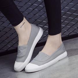 貝殼鞋女一腳套帆布鞋女淺口單鞋女小白鞋平底~韓風館~