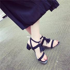 露趾編織帶羅馬綁帶流蘇粗跟涼鞋鏤空一字帶高跟涼鞋女~韓風館~