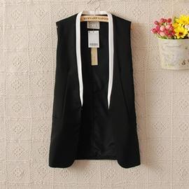 女裝職業OL無袖外套顯瘦秋裝新品簡約背心修身氣質小西服~3C 館~