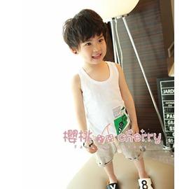 男童工字背心  純棉男孩無袖小背心兒童上衣薄款潮夏裝