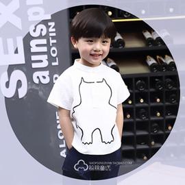 夏裝男童棉麻短袖t恤男孩 韓國兒童半袖體恤衫寶寶上衣潮