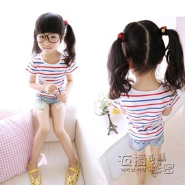 女童T恤夏裝 體恤中小兒童女寶寶短袖衫條紋小女孩純棉~浪漫衣櫥~