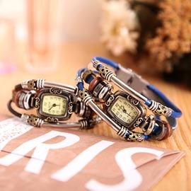 石英編織時裝復古女錶真皮手鍊錶學生韓國 潮流韓鍊手錶衣櫥 祕密