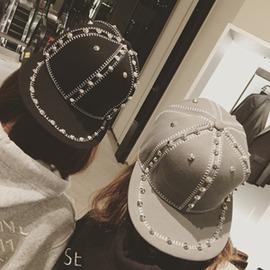 原宿帽子女生 夏天街頭 鉚釘鴨舌帽嘻哈潮流平沿棒球帽~浪漫衣櫥~