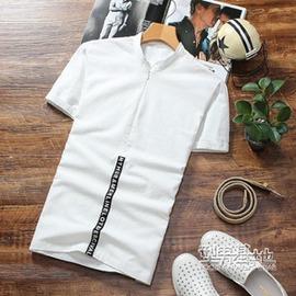 棉麻男士短袖T恤衫男裝亞麻t恤男青年學生 夏裝襯衣襯衫V領潮
