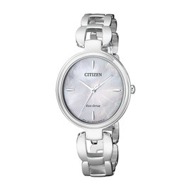 CITIZEN 星辰表  EM0420~89D  L 迷人光環 光動能白蝶貝面不鏽鋼手錶