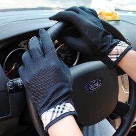 防曬手套男短薄款 透氣開車防紫外線 格子防滑觸屏手套