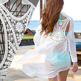 長版長袖鉤花海灘罩衫E311-QS87女游泳衣防曬衣防曬衫防曬罩衫防晒上衣防曬服鏤空外罩衫透視比基尼罩衫網紗罩衫沙灘衣沙灘裙針織衣針織衫