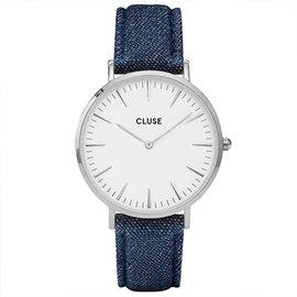 聖誕節▼ 兩只 4999CLUSE荷蘭 手錶 波西米亞丹寧銀色系列白錶盤 藍色皮革錶帶38