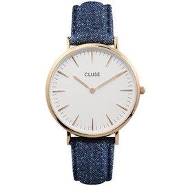 CLUSE荷蘭 手錶 波西米亞丹寧玫瑰金系列白錶盤 藍色皮革錶帶38mm