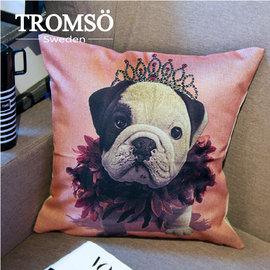 瑞典TROMSO 棉麻抱枕~U55皇室法鬥 法國鬥牛犬動物麻布靠枕IKEA狗狗粉紅色芭蕾~