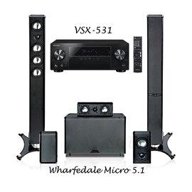視紀音響 家庭劇院 Pioneer 先鋒 VSX-531-B 5.1 藍光環繞擴大機 +英國 Wharfedale Achromatic Micro 5.1聲道 喇叭組 不含超低音 現貨