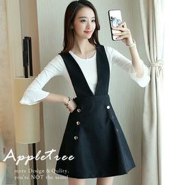 AppleTree日韓~小喇叭針織杉 黑色吊帶裙兩件成套~609030~